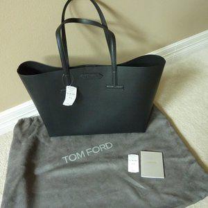 TOM FORD Black Saffiano Leather Logo T Tote Bag